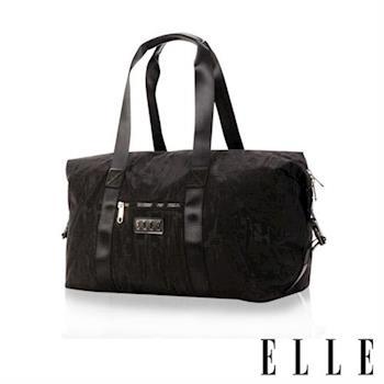 【ELLE】優雅淑女皺褶包旅行包大空間防潑水設計款(黑 EL82346-02)