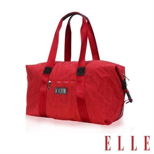 【ELLE】優雅淑女皺褶包旅行包大空間防潑水設計款(紅 EL82346-01)