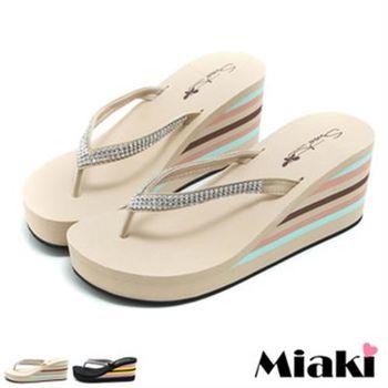 【Miaki】MIT 涼拖沙灘不敗坡跟人字夾腳涼鞋(米白色 / 黑色)