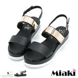 MiakiMIT涼鞋金屬韓版厚底露趾涼拖(白色/黑色)