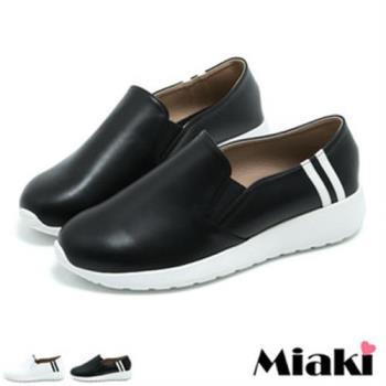 【Miaki】MIT 休閒鞋韓版設計平底圓頭包鞋(黑色 / 白色)