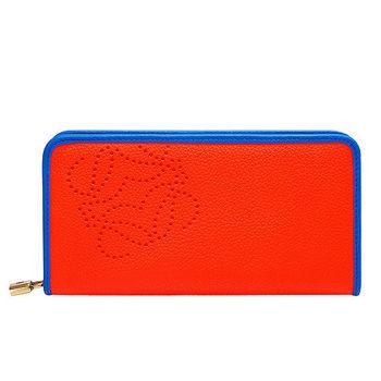 LOEWE 經典AMAZONA系列打洞LOGO設計小牛皮撞色滾邊手拿長夾(橘X藍)