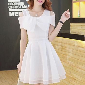 【Fabulous!!】韓式名媛一字領水晶紗修身小蓬裙洋裝(白 深藍 可選)