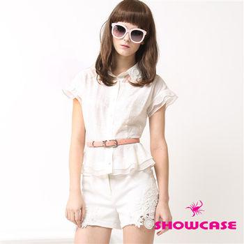 SHOWCASE 微透拼接珍珠領荷葉紗襯衫(白/黃)-151124F