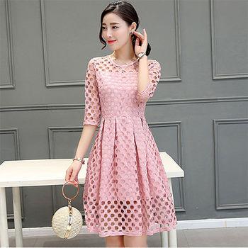 Fabulous!!】韓版時尚簍空氣質收腰洞洞洋裝(白 粉紅 可選)