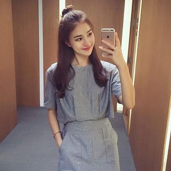 【Fabulous!!】韓版簡約細條紋假兩件連身洋裝