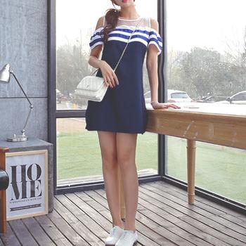 【Fabulous!!】心機露肩顯瘦海軍風連身洋裝