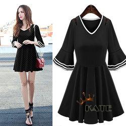 KATEV領層次袖口波浪圓裙洋裝K250(輕巧黑)