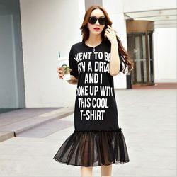 KOVLL中大尺碼黑色字母印花拼接連身裙