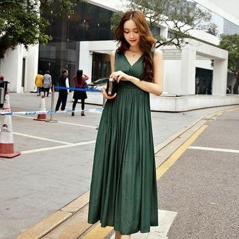 【KVOLL中大尺碼】綠色露背V領無袖連身裙