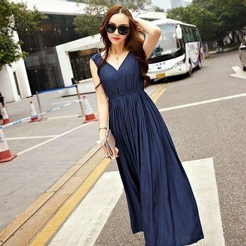 【KVOLL中大尺碼】藍色露背V領無袖連身裙