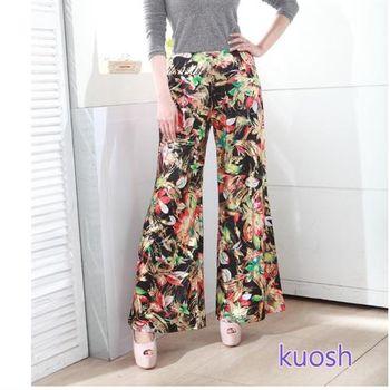 【KUOSH】艷麗花卉幾何寬版長褲(FB-0008)