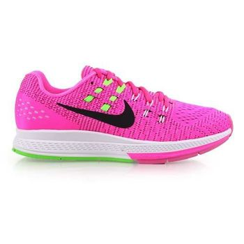 【NIKE】AIR ZOOM STRUCTURE 19 女慢跑鞋- 路跑 螢光粉綠