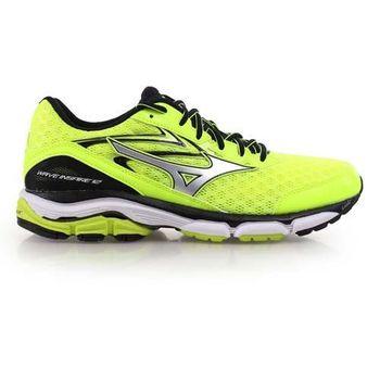 【MIZUNO】WAVE INSPIRE 12 男慢跑鞋- 路跑 美津濃 螢光黃銀
