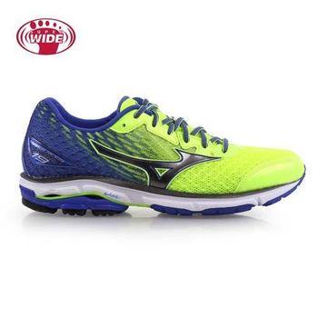 【MIZUNO】WAVE RIDER 19 男慢跑鞋-2E-寬楦 美津濃 藍螢光黃