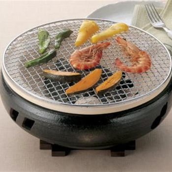 萬古燒 伊勢炭烤爐 水式爐 硅藻土烤爐(灰釉黑-大)