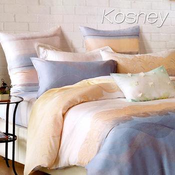 【KOSNEY】優雅時光  加大100%天絲TENCEL四件式兩用被床包組