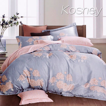 【KOSNEY】山抹微雲  雙人100%天絲TENCEL四件式兩用被床包組