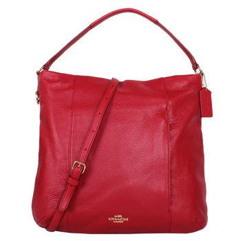 COACH-素面皮革手提 斜背包(紅)