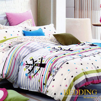 【BEDDING】在樹上唱歌    100%棉雙人加大床包枕套三件式