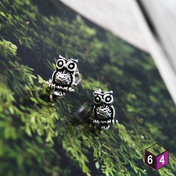 ART64 耳環 貓頭鷹 owl 925純銀 動物耳環