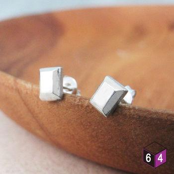 ART64 耳環 Brick磚塊 925純銀方塊形耳環  率性時尚