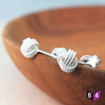 ART64 耳環 人魚淚珠 925純銀纏繞圓球形耳環 氣質典雅
