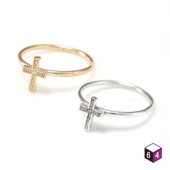 ART64 戒指 小巧十字架 925純銀戒指(2色可選)