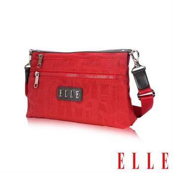 【ELLE】優雅淑女皺褶包休閒側背包防潑水設計款(紅 EL83458-01)