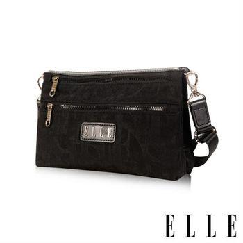 【ELLE】優雅淑女皺褶包休閒側背包防潑水設計款(黑 EL83458-02)