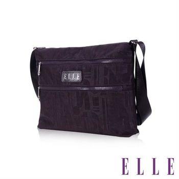 【ELLE】優雅淑女皺褶包 直立休閒側背包款 防潑水設計款(紫 EL83459-24)