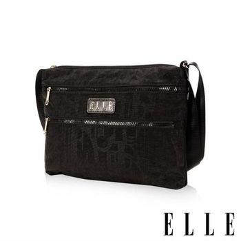 【ELLE】優雅淑女皺褶包 直立休閒側背包款 防潑水設計款(黑 EL83459-02)