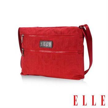【ELLE】優雅淑女皺褶包 直立休閒側背包款 防潑水設計款(紅 EL83459-01)