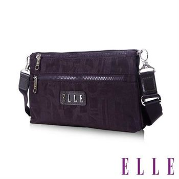 【ELLE】優雅淑女皺褶包休閒側背包防潑水設計款(紫 EL83458-24)