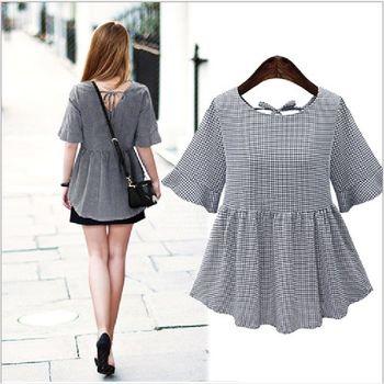 (現貨+預購 RN-girls)-歐美夏裝新款格子顯瘦露背繫帶收腰連身裙