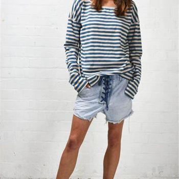 OneTeaspoon MINNIE STRIPE L/S 長袖條紋T恤 OTS - 藍白條紋