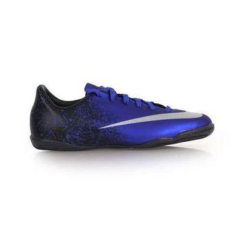 【NIKE】MERCURIAL VICTORY V CR 男女兒童室內足球鞋 藍黑