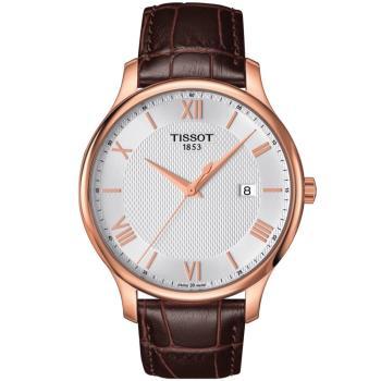 TISSOT Tradition 經典系列簡約紳士男用腕錶-玫瑰金框/42mm/ T0636103603800
