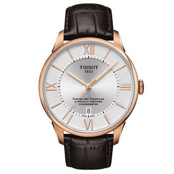 TISSOT 杜魯爾系列 COSC天文台認證機械腕錶-玫瑰金框/42mm/T0994083603800