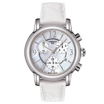 天梭TISSOT DRESSPORT 三眼經典計時女用錶-白/35mm/T0502171711700