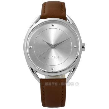 ESPRIT / ES906552002 / 簡約百搭超凡品味真皮手錶 銀x淺棕 36mm