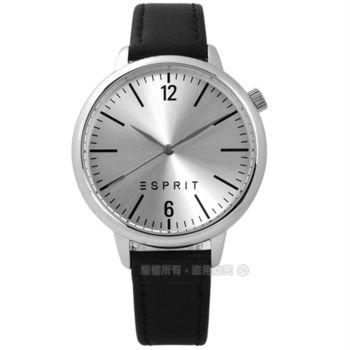 ESPRIT / ES906562003 / 簡約中性品味數字真皮手錶 銀x黑 39mm