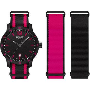 TISSOT QUICKSTER NATO 活力潮流運動腕錶-黑x桃紅/40mm/ T0954103705701