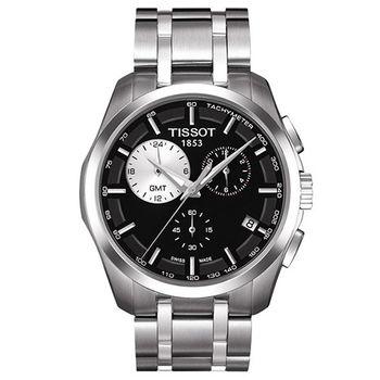 TISSOT Couturier建構師系列時尚機械腕錶-黑/白-41mm/T0354391105100