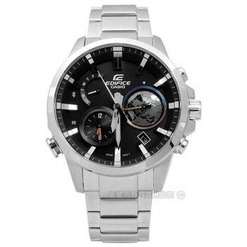 EDIFICE CASIO / EQB-600D-1A 卡西歐獨特3D立體地球智慧藍牙日期太陽能不鏽鋼手錶 黑色 44mm