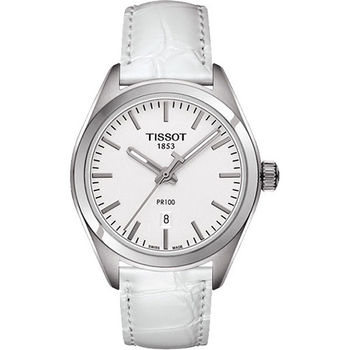 TISSOT PR100 白色美學簡約高尚女用腕錶-銀白/33mm/T1012101603100