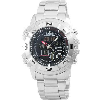 CASIO 卡西歐雙顯多時區太陽能電子鋼帶錶-黑 / AMW-705D-1A