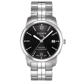 TISSOT PR100 簡約都會男用機械腕錶-黑/38mm/T0494071105700
