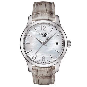 TISSOT-T-CLASSIC 懷舊古典珍珠母貝腕錶/白-34mm/T0632101711700