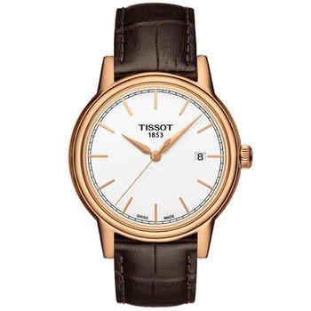 TISSOT T-Classic 經典大三針時尚腕錶/玫瑰金-39mm-T0854103601100